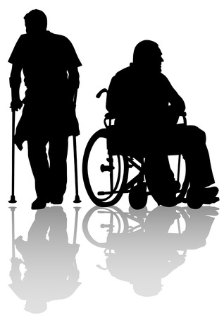 physical impairment: Vector graphic disabled on a walk. Silhouettes of people