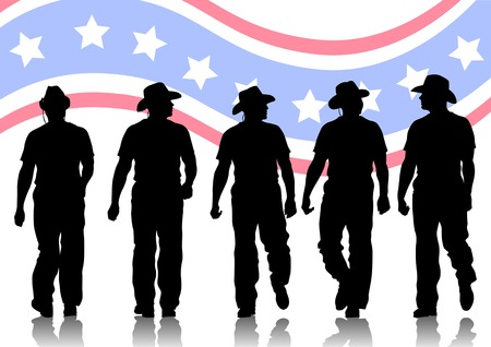 Vector drawing of people in cowboy hats. Silhouettes on white background Illustration