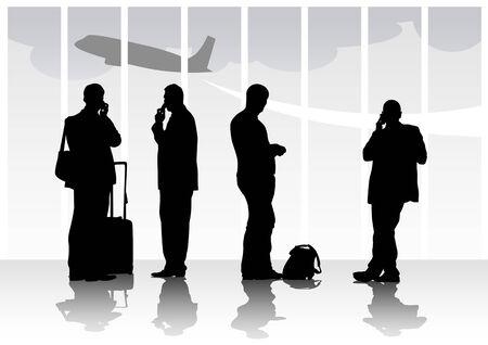Immagine vettoriale di persone con i bagagli in aeroporto  Vettoriali