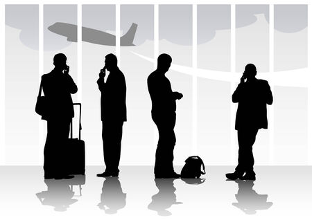 people traveling: Vector image of people with luggage in airport