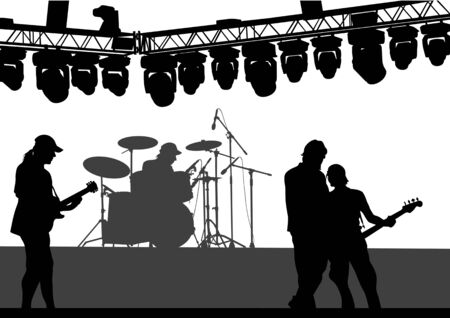 performing: Vector drawing musical group on stage. Silhouettes on white background