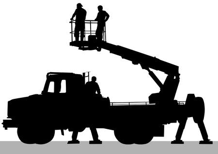 camion grua: Imagen vectorial de trabajo coches. Siluetas sobre fondo blanco  Vectores