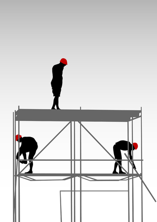 dais: Vector drawing of building structures and worker on dais