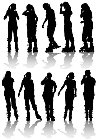 Vector drawing women athlete on skates. Silhouette on white background Vector