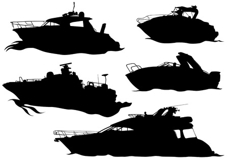motorboat:  drawing of marine boats. Silhouettes on white background Illustration