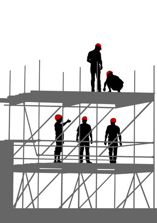 team worker: drawing of building structures and worker on dais