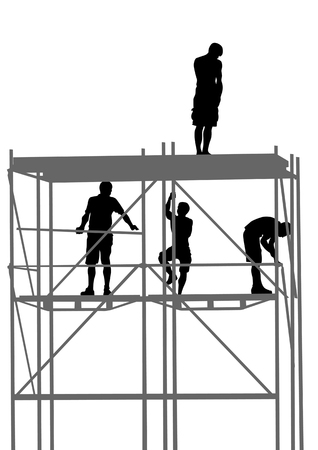 állványzat: drawing of building structures and worker on construction