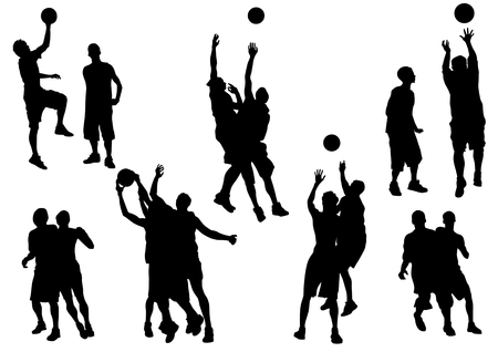 scoring: Vector graphic basketball. Silhouette sport people