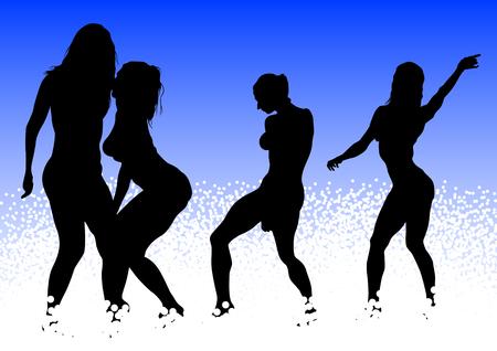 prostitue: Vector tekening slanke en mooie meisjes in bikini