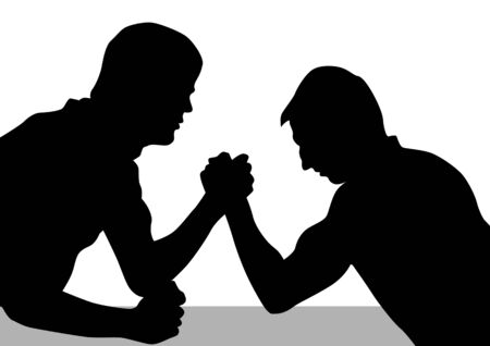 struggle: Vector drawing competitions armwrestling. Silhouettes of two men