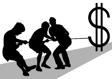 struggling: Vector image of men with ropes and a dollar sign