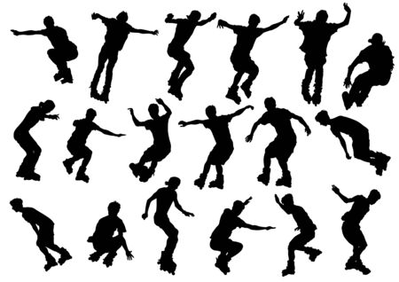 Vector drawing boys athletes on skates. Silhouette on white background Vector