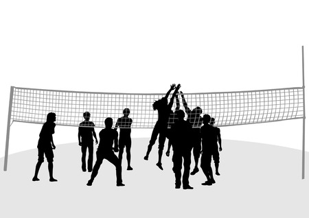 Vector drawing jumping around volleyball nets Stock Vector - 7530887