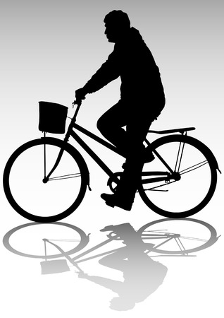 Vector image of cyclists on vacation. Silhouettes of people Vector