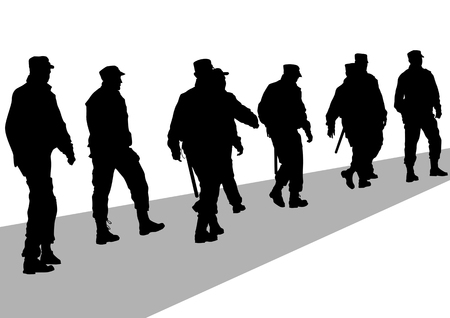 Vector image of police on street during Vector