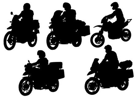 casco moto: Motociclista de dibujo vectorial. Silueta sobre fondo blanco