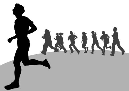 activity exercising: Vector drawing running athletes. Silhouettes on white background