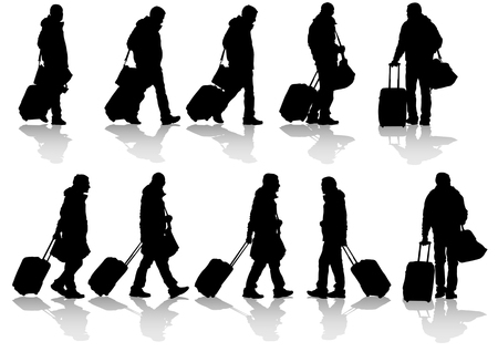 passenger: Vector drawing travelers with suitcases. Silhouettes on white background