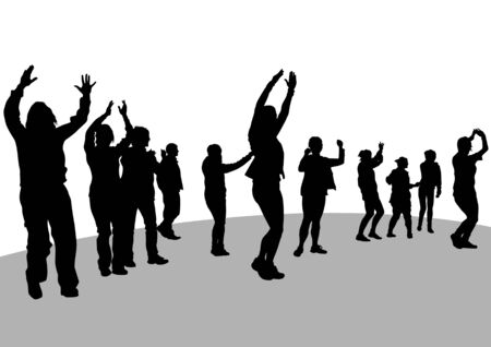 Vector image of women engaged in aerobics Vector