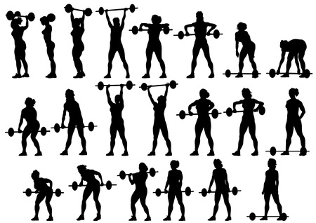 weightlifting: Vector image of young athletic women with a heavy barbell
