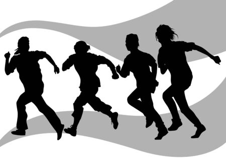 Vector drawing running athletes. Silhouettes on white background Stock Vector - 7842188