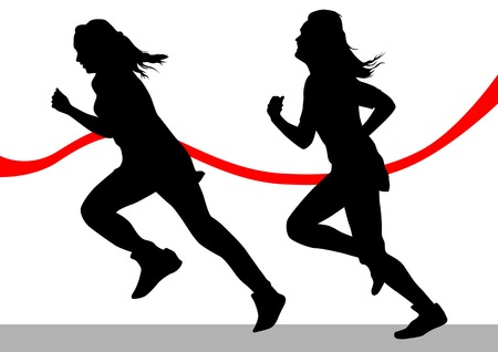athlete running: Vector drawing running athletes. Silhouettes on white background