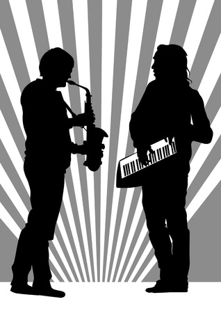 Vector drawing musicians from the saxophone and piano Vector