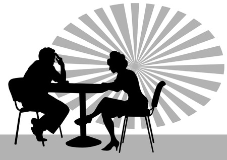 drawing people in cafes. Silhouettes of people in urban life Stock Vector - 7879269