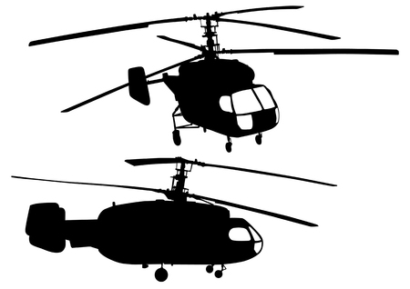 image of big helicopters. Silhouettes on white background