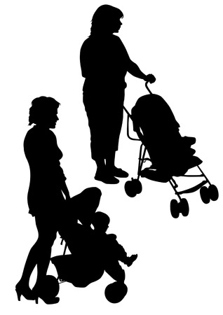 drawing two mother with children. Silhouettes on a white background Vector