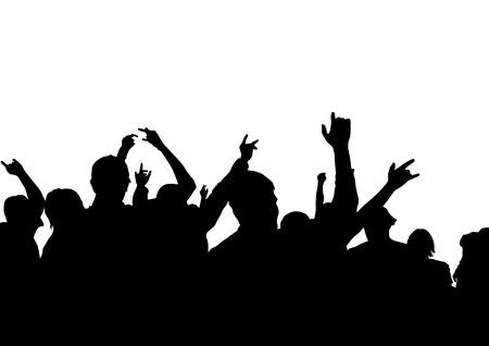 popular music concert: disegno agli spettatori di scena. Folla con le loro mani