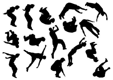 hombre cayendo: saltar y hombres de escalada. Atletas de siluetas