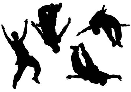 parkour: saltar y escalada de hombres. Atletas de siluetas