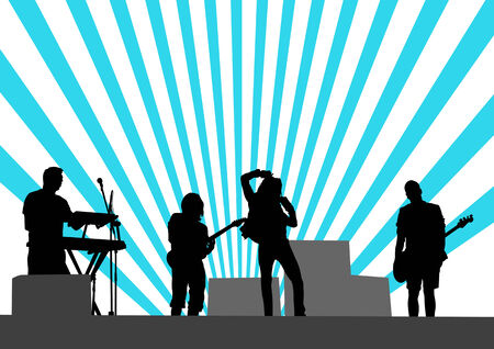 musical group in concert on stage Stock Vector - 8119571