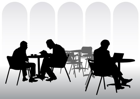 people sitting: Vector image of business people for lunch at a restaurant
