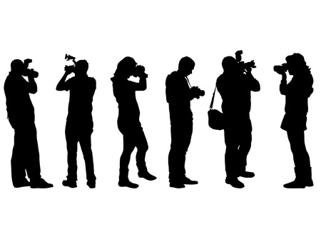 paparazzi: Vector image of people with cameras on a white background