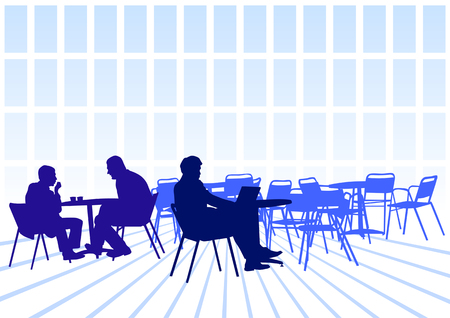 sit back: Vector image of business people for lunch at a restaurant