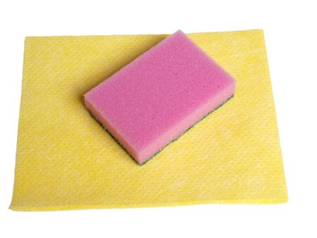 Color photo of rags and sponges for cleaning on a white background         photo