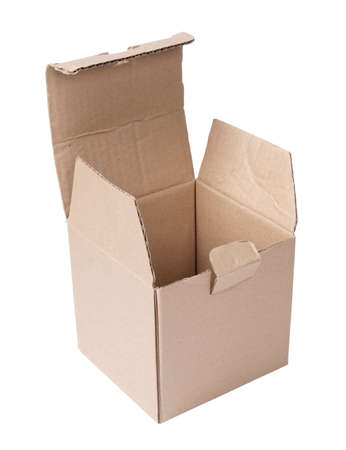 Color photo of an empty cardboard box on a white background         Stock Photo - 8589829