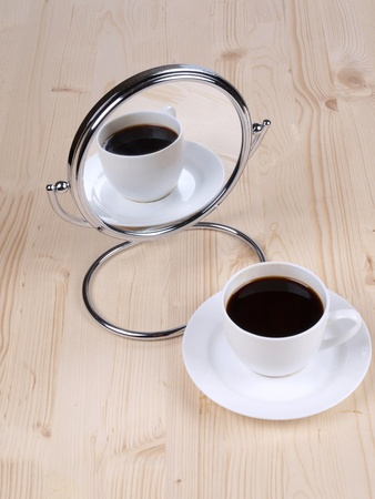 Color photo of coffee white cup and mirror Stock Photo - 8661127