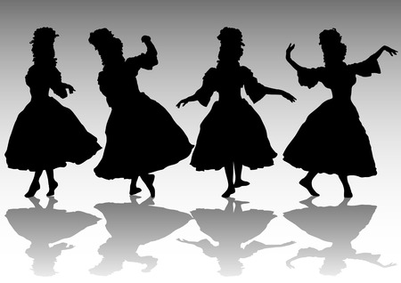 image of dancing women. Silhouettes of people Vector