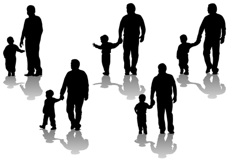 teaching adult: image of father and son. Silhouettes on white background