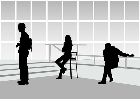 sit shape: drawing people in office. Silhouette mans and women