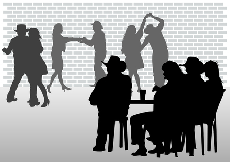 pantomime: Vector drawing people in cafes. Silhouettes of people in urban life Illustration