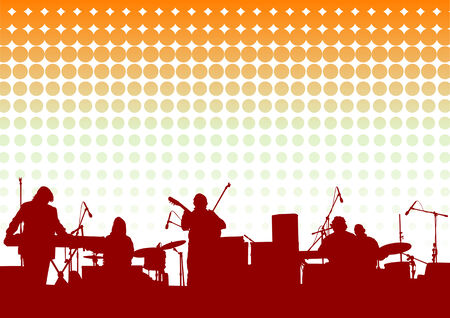 Vector drawing musical group in concert on stage Stock Vector - 8755500