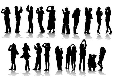 Imagen vectorial de fotógrafos de personas con equipo en el trabajo