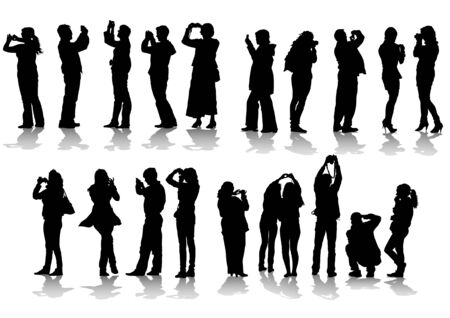 Vector image of people photographers with equipment at work Vector