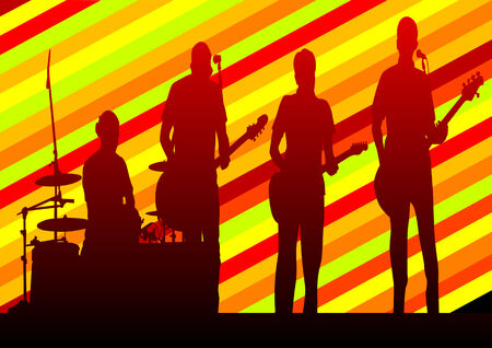 Vector drawing musical group in concert on stage Stock Vector - 8755474
