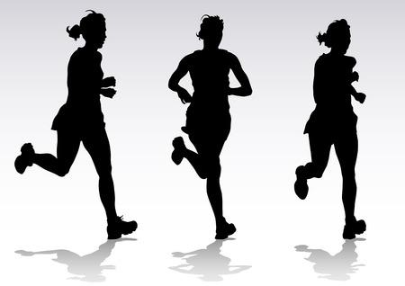 donna che corre: Disegno vettoriale in esecuzione atleti. Sagome di persone sfondo