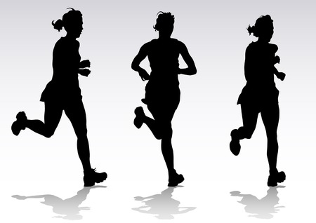 running woman: Vector drawing running athletes. Silhouettes of people background Illustration